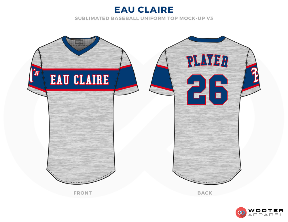 EAU CLAIRE Light Gray Blue and Red Baseball Uniforms, Shirts