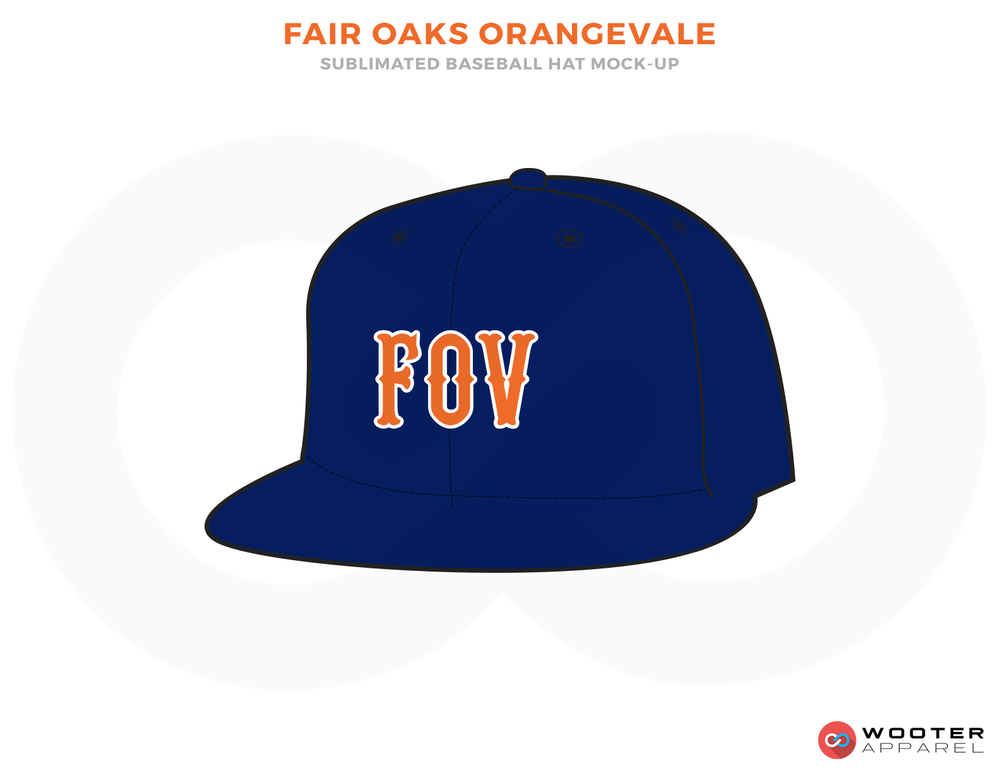 FAIR OAKS ORANGEVALE Blue and Orange Baseball Uniforms, Caps