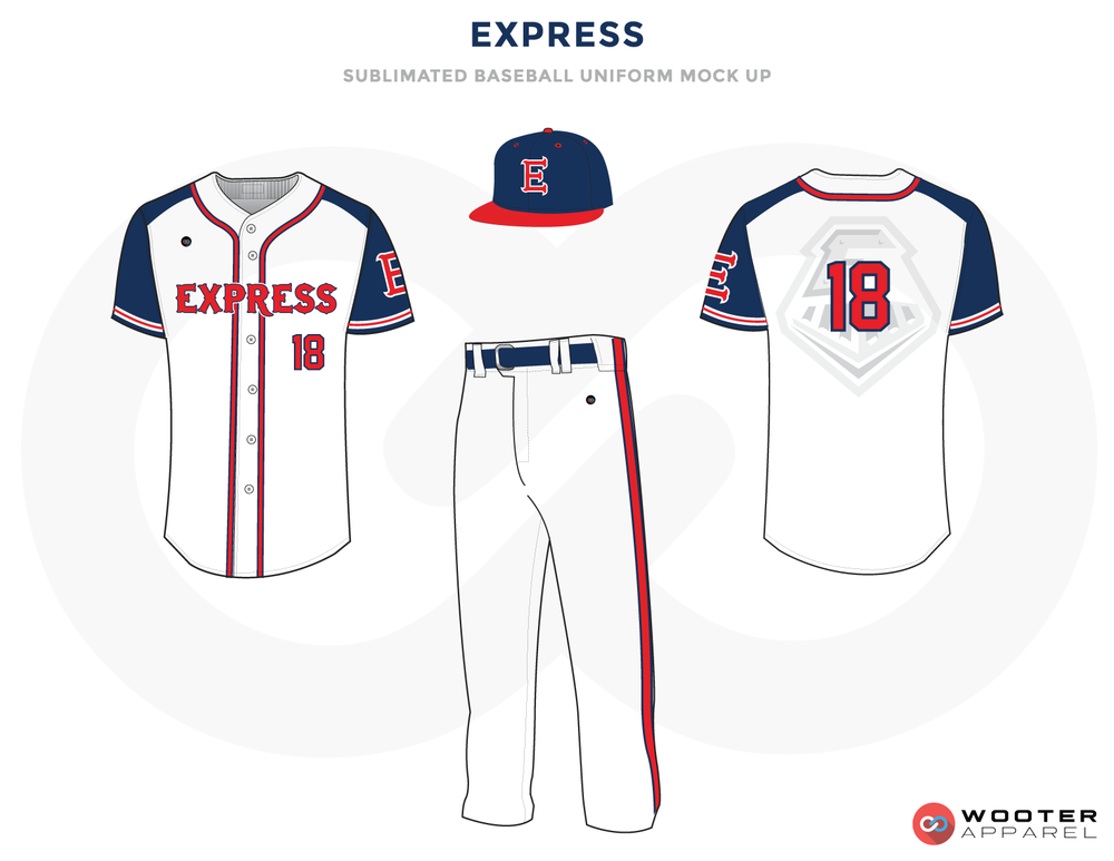Express White Blue and Red Baseball Uniforms, Shirt, Cap and Pants