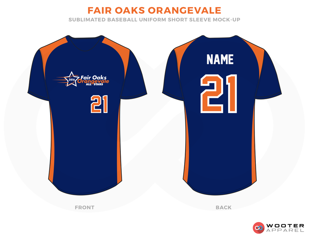 FAIR OAKS ORANGEVALE Blue White and Orange Baseball Uniforms, Shirts