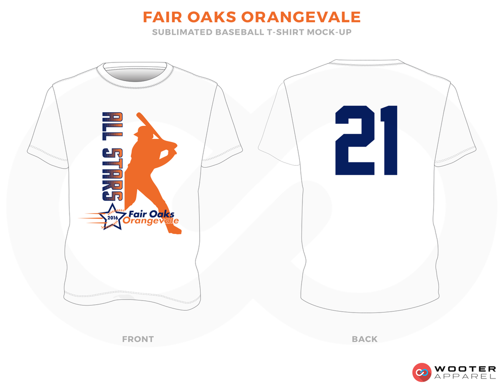 FAIR OAKS ORANGEVALE White Blue and Orange Baseball Uniforms, Shirts
