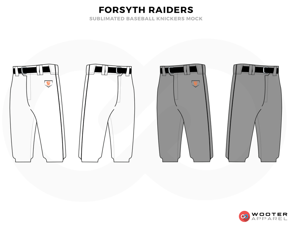 FORSYTH RAIDERS Gray White Black and Orange Baseball Uniforms, Shorts