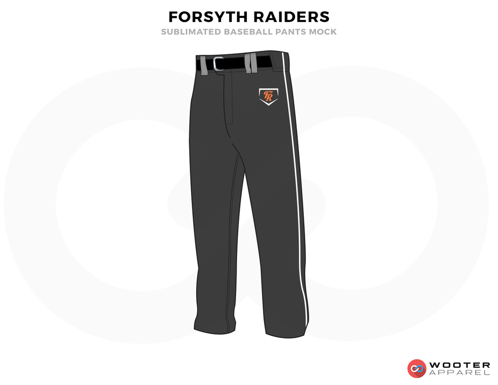 FORSYTH RAIDERS Black Red Gray and White Baseball Uniforms, Pants