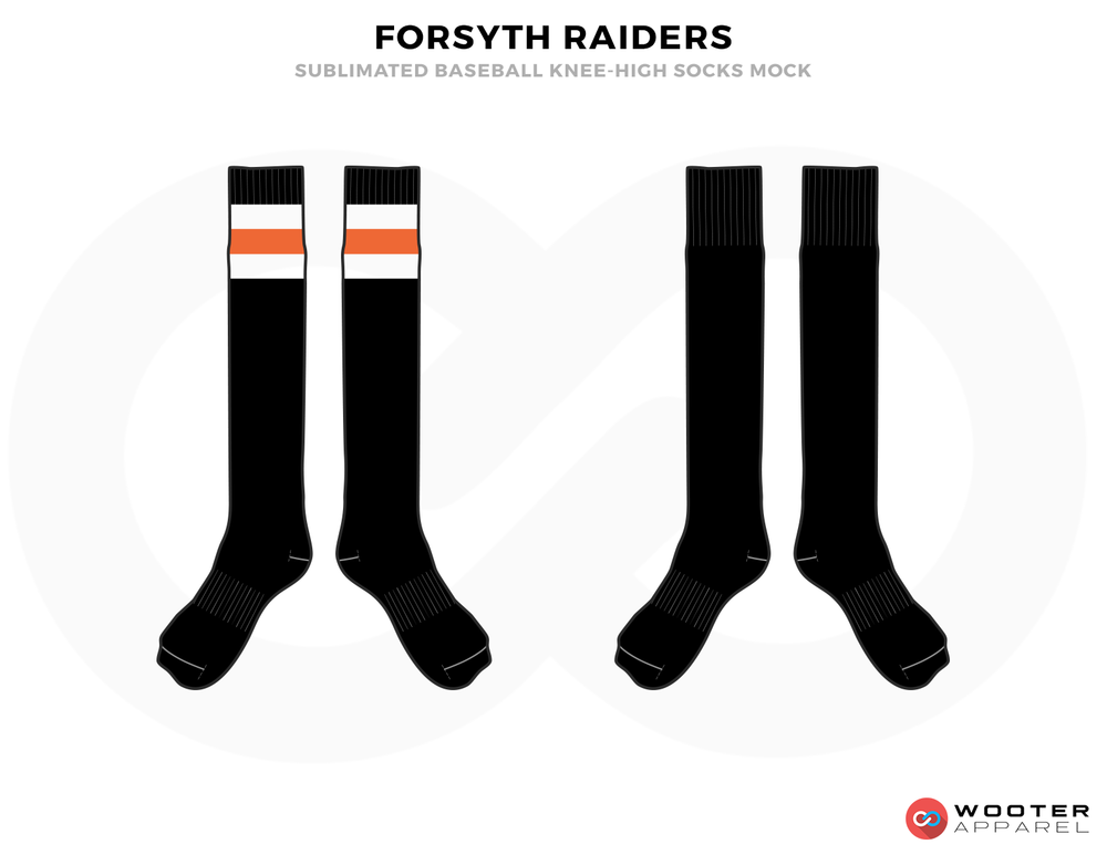 FORSYTH RAIDERS Orange White and Black Baseball Uniforms, Leggings