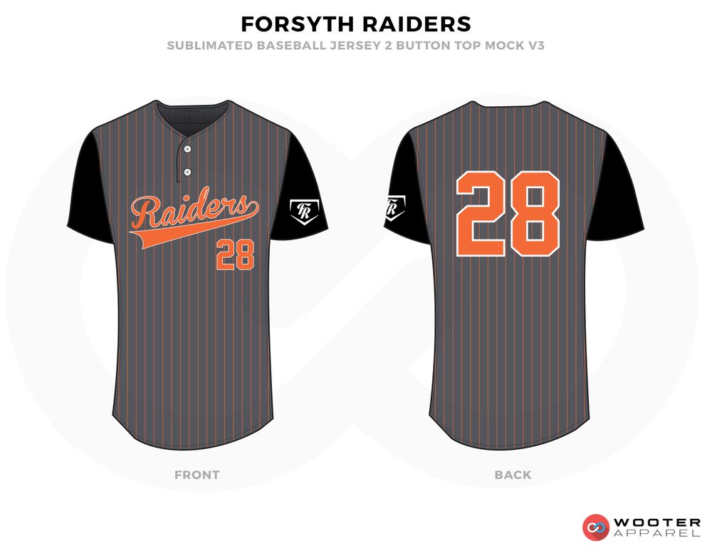 FORSYTH RAIDERS Gray Black White Orange Baseball Uniforms, Shirts