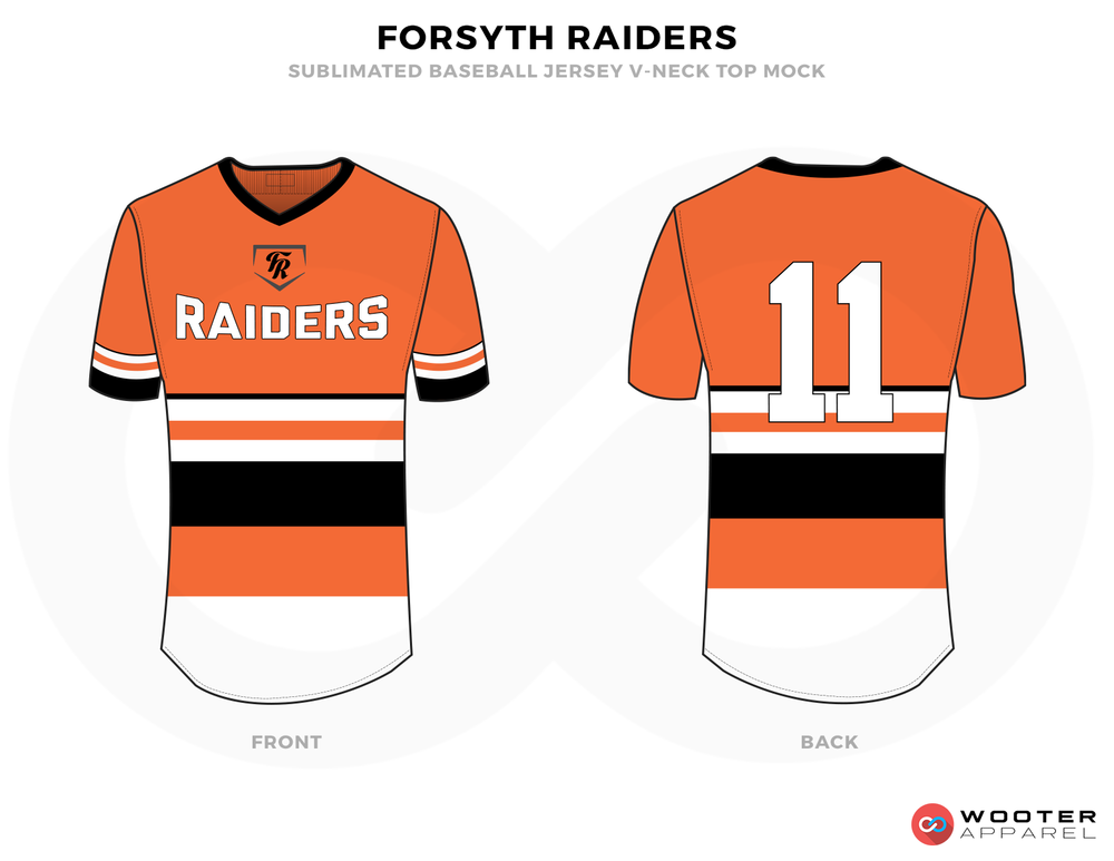 FORSYTH RAIDERS Orange White Black Baseball Uniforms, Shirts