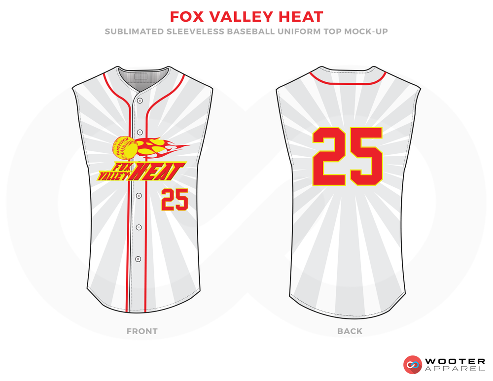 FOX VALLEY HEAT White Red and Yellow Baseball Uniforms, Shirts