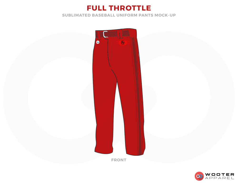 FULL THROTTLE Red and Maroon Baseball Uniforms, Pants