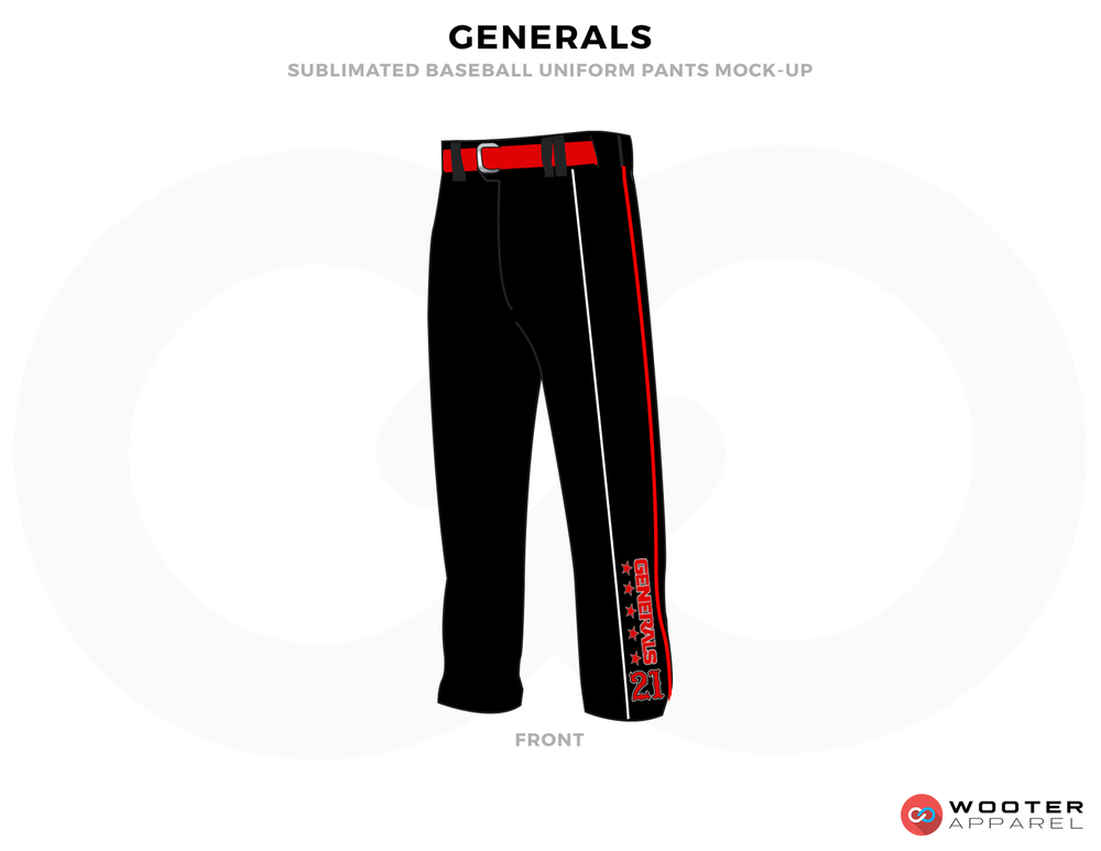 GENERALS Black and Red Baseball Uniforms, Pants