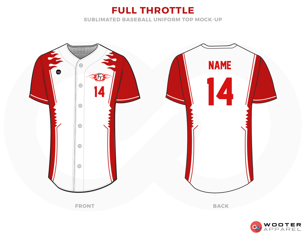 FULL THROTTLE Red and White Baseball Uniforms, Shirts