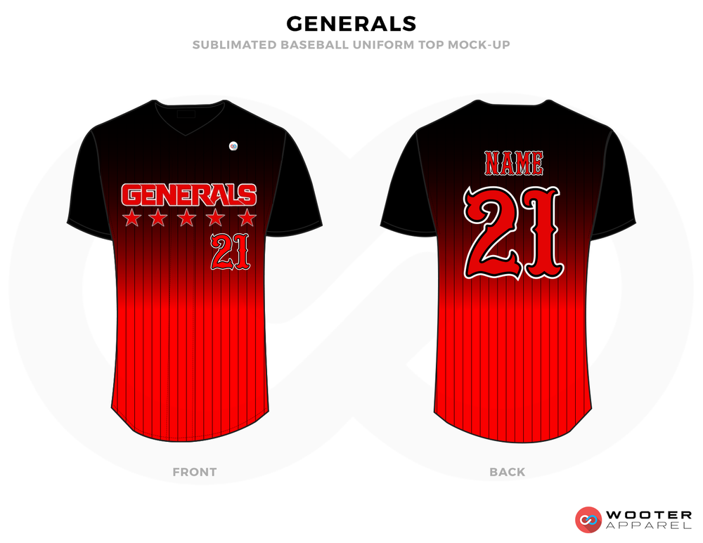 GENERALS Black and Red Baseball Uniforms, Shirts