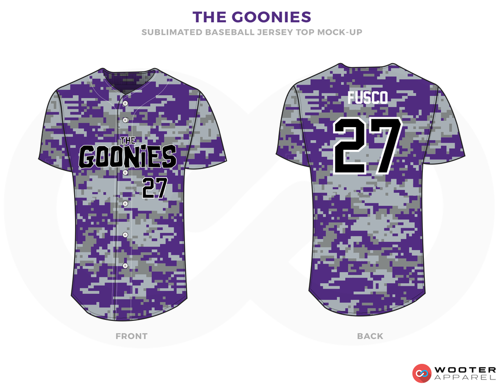 THE GOONIES Purple Black and White Baseball Uniforms, Shirts