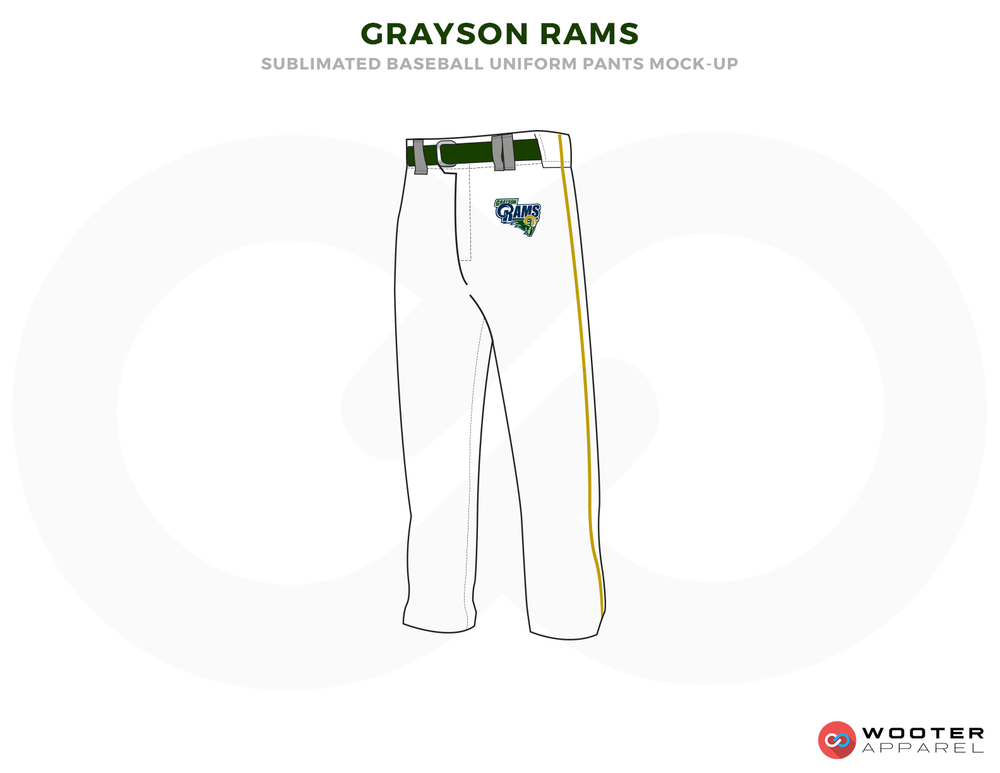 GRAYSON RAMS White Black and Blue Baseball Uniforms, Pants
