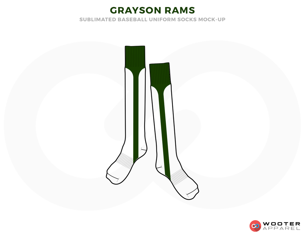 GRAYSON RAMS Green and White Baseball Uniforms, Socks