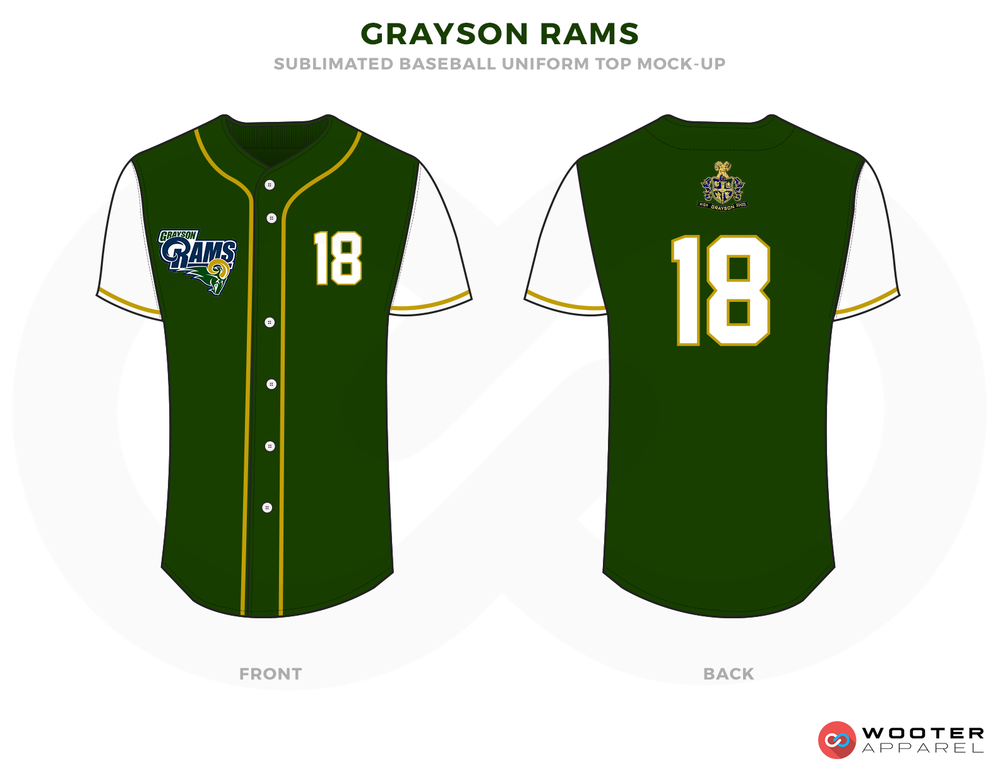 GRAYSON RAMS Green Blue Yellow and White Baseball Uniforms, Shirts