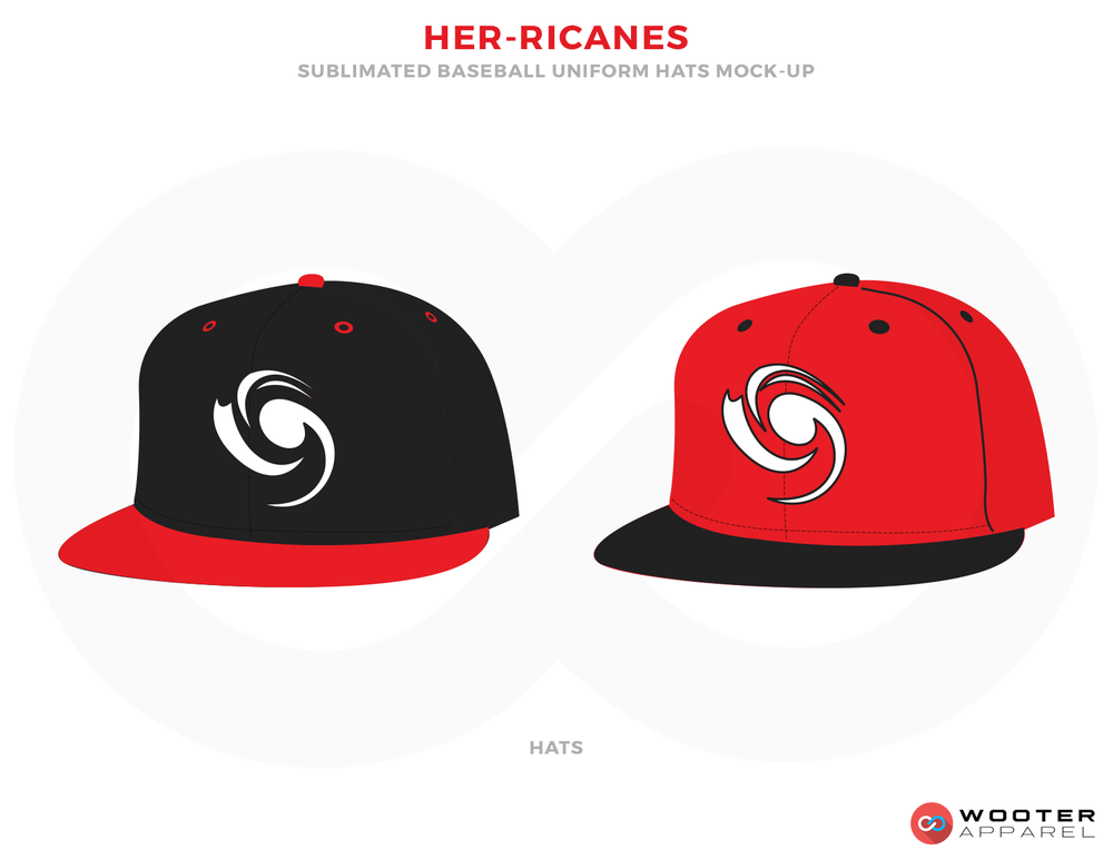 HER-RICANES Black White and Red Baseball Uniforms, Caps