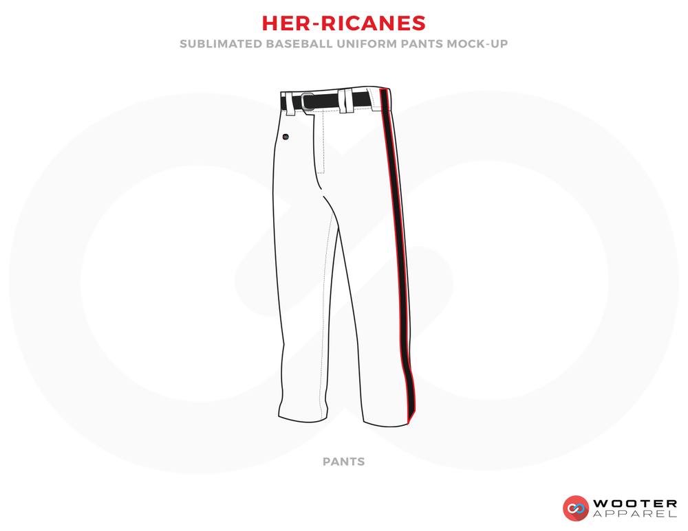HER-RICANES White Red and Black Baseball Uniforms, Pants