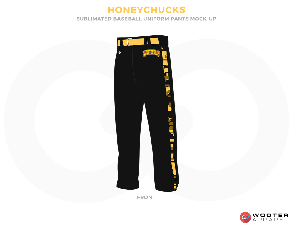 HONEYCHUCKS Black and Yellow Baseball Uniforms, Pants