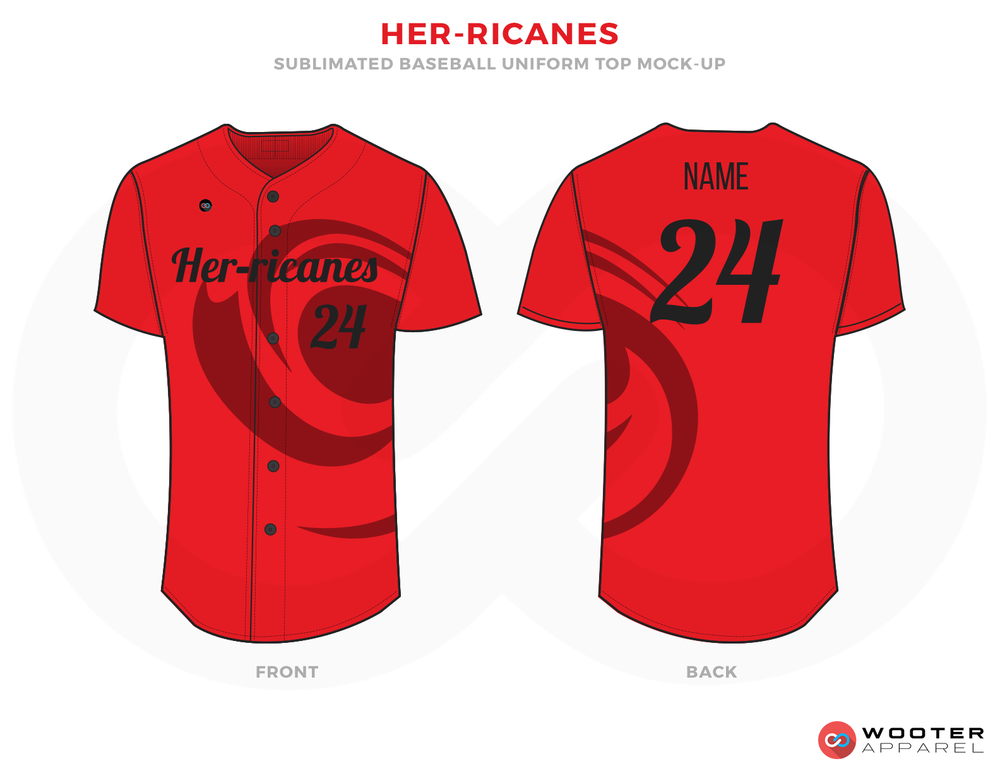 HER-RICANES Red Black and Maroon Baseball Uniforms, Shirts