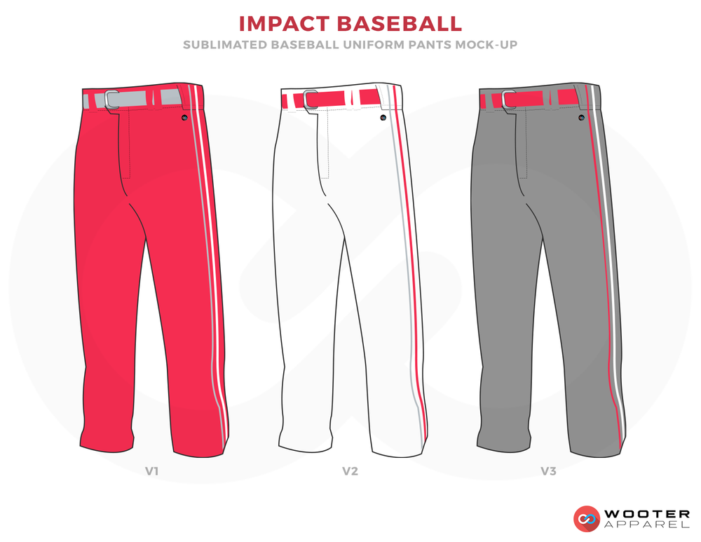 IMPACT BASEBALL Pink White Red Gray Baseball Uniforms, Pants