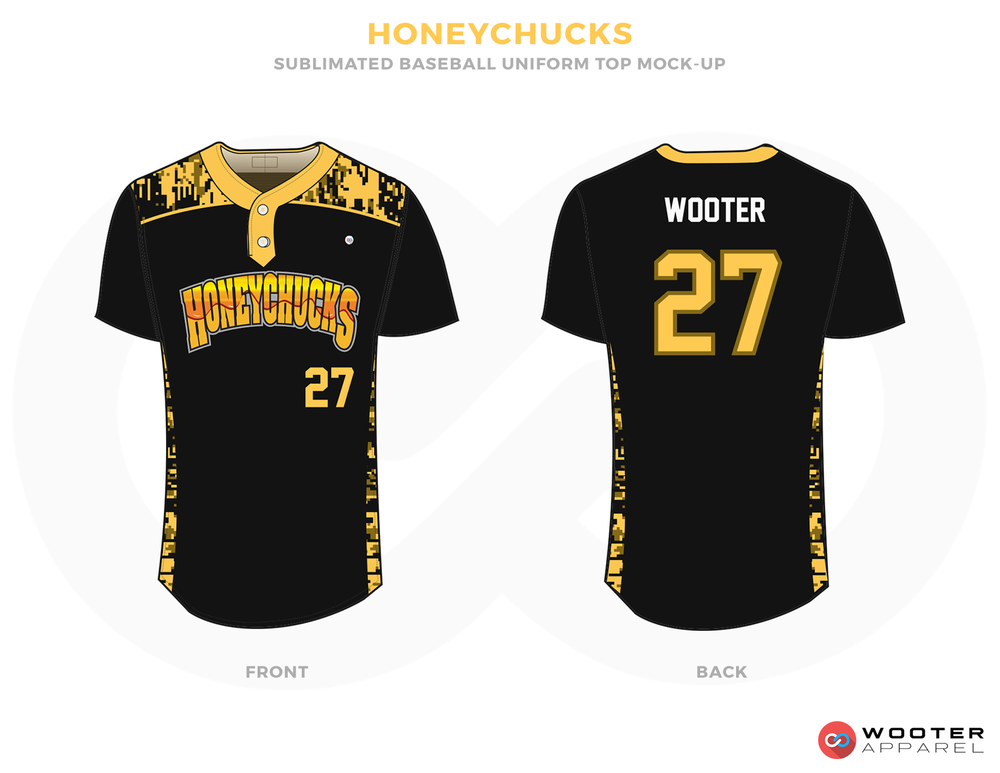 HONEYCHUCKS Black Yellow and White Baseball Uniforms, Shirts