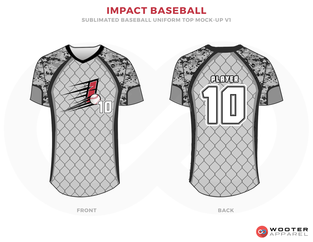 IMPACT BASEBALL Black Gray Red and White Baseball Uniforms, Shirts