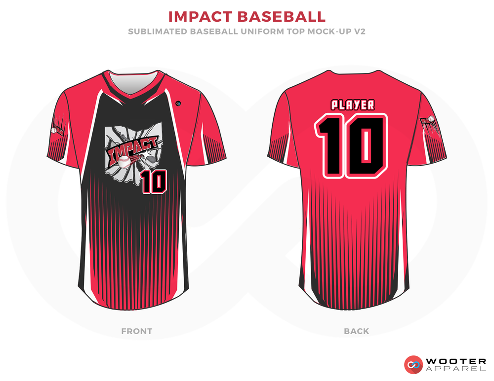 IMPACT BASEBALL Pink Black and White Baseball Uniforms, Shirts