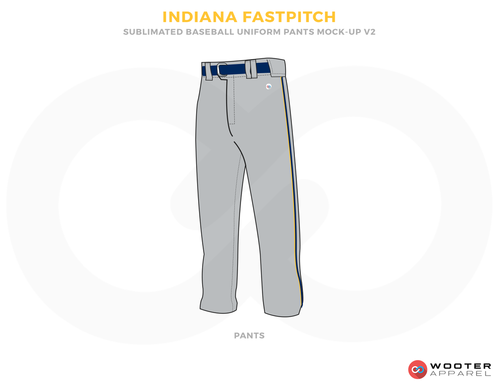 INDIANA FASTPITCH Gray and Blue Baseball Uniforms, Pants