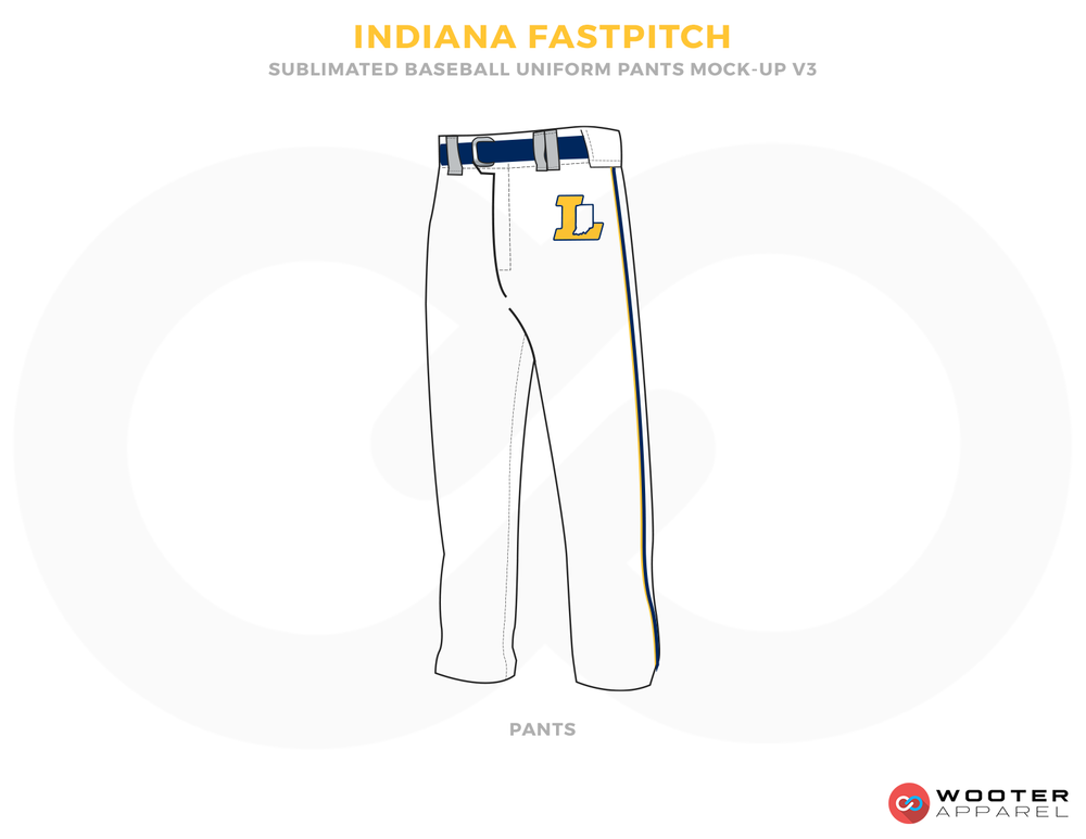 INDIANA FASTPITCH White Yellow and Blue Baseball Uniforms, Pants