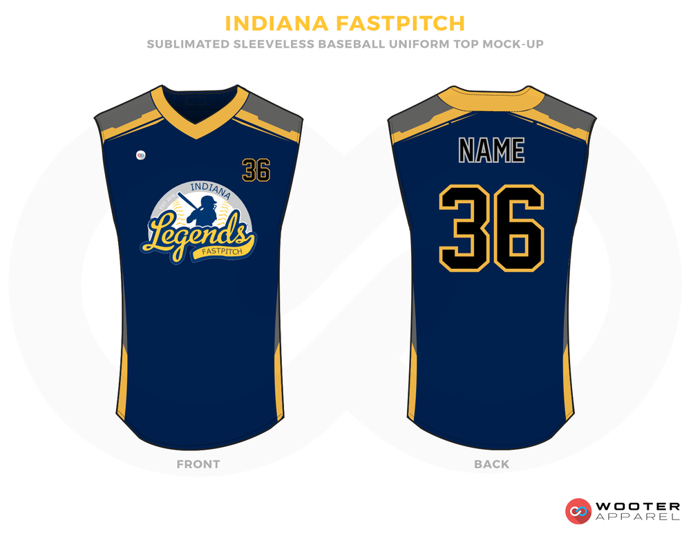 INDIANA FASTPITCH Blue Black White and Yellow Baseball Uniforms, Shirts