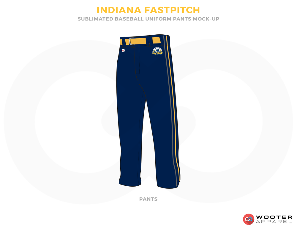 INDIANA FASTPITCH Blue White and Yellow Baseball Uniforms, Pants