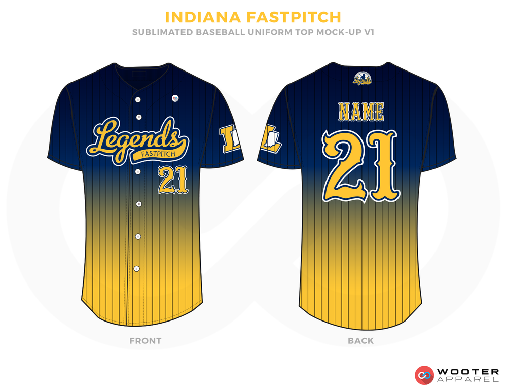 INDIANA FASTPITCH Blue and Yellow Baseball Uniforms, Shirts
