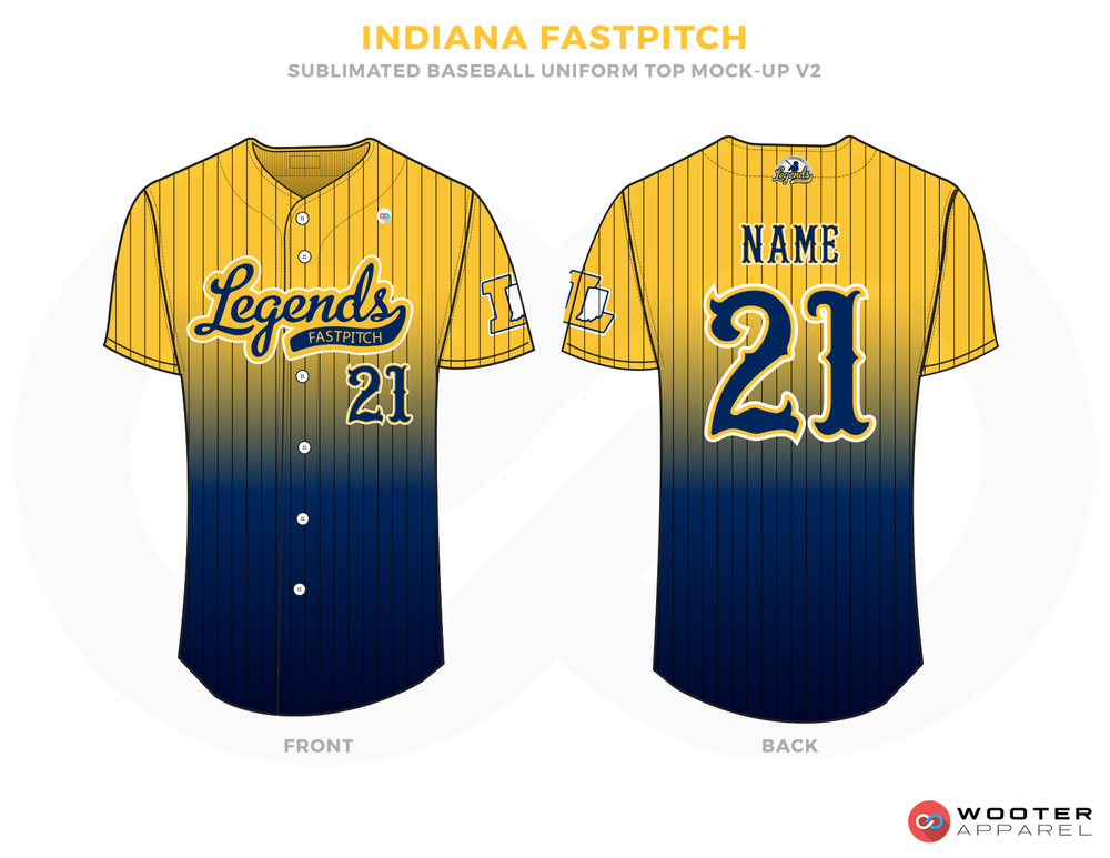 INDIANA FASTPITCH Yellow and Blue Baseball Uniforms, Shirts