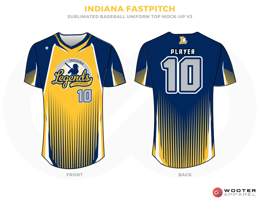 INDIANA FASTPITCH Blue Gray White and Yellow Baseball Uniforms, Shirts