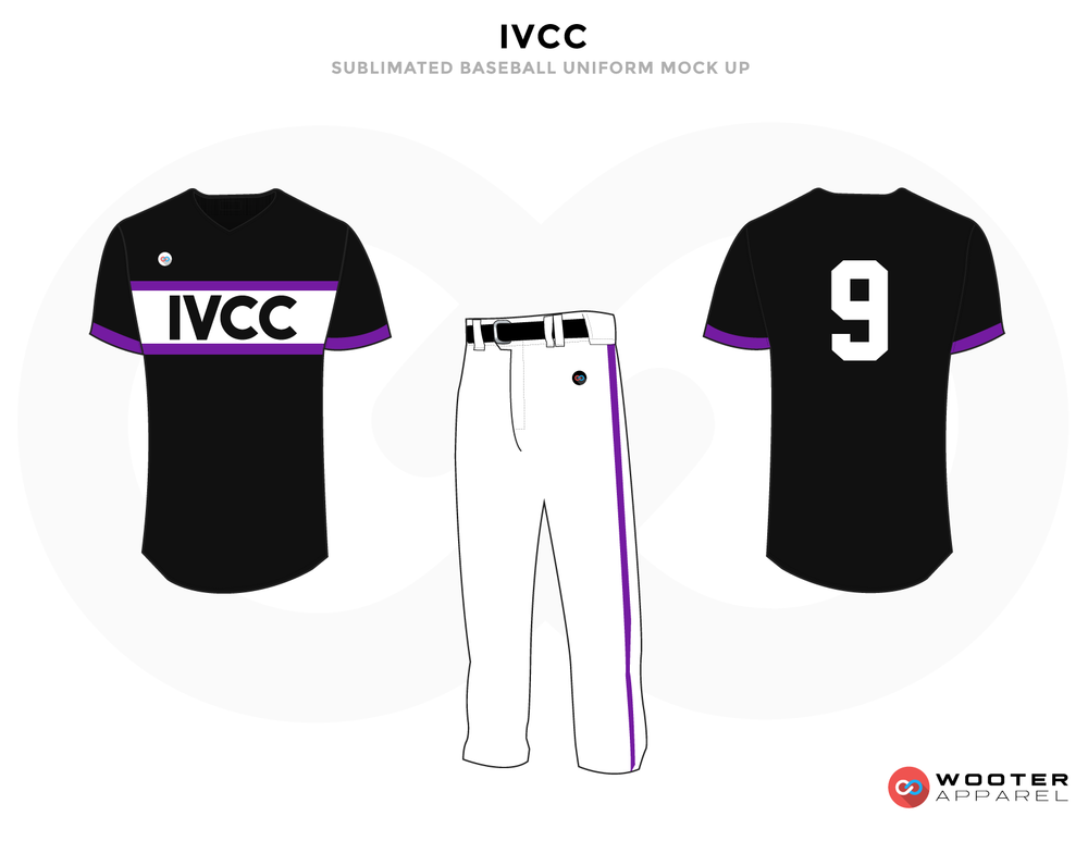 IVCC Black purple and Black Baseball Uniforms, Pant and Shirts