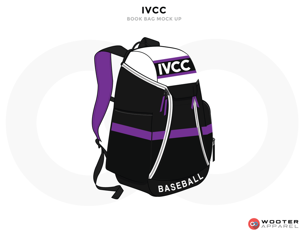 IVCC Purple White and Black Baseball Uniforms, Sports Bag