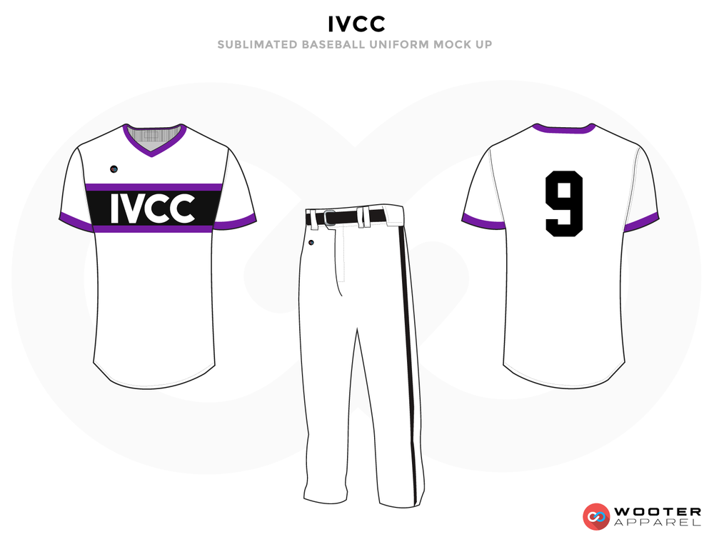 IVCC Purple White and Black Baseball Uniforms, Pants and Shirts