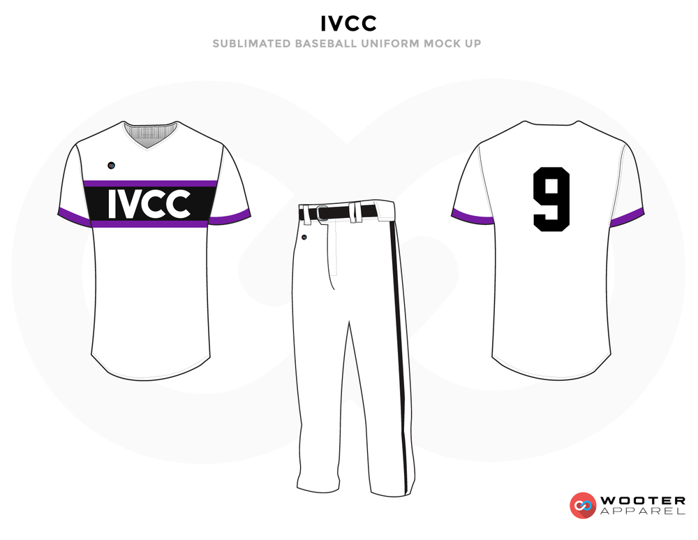 IVCC Black White and Purple Baseball Uniforms, Shirt and Pants