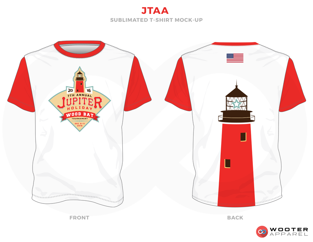 JTAA Red Black White Blue and Peach Baseball Uniforms, Shirt