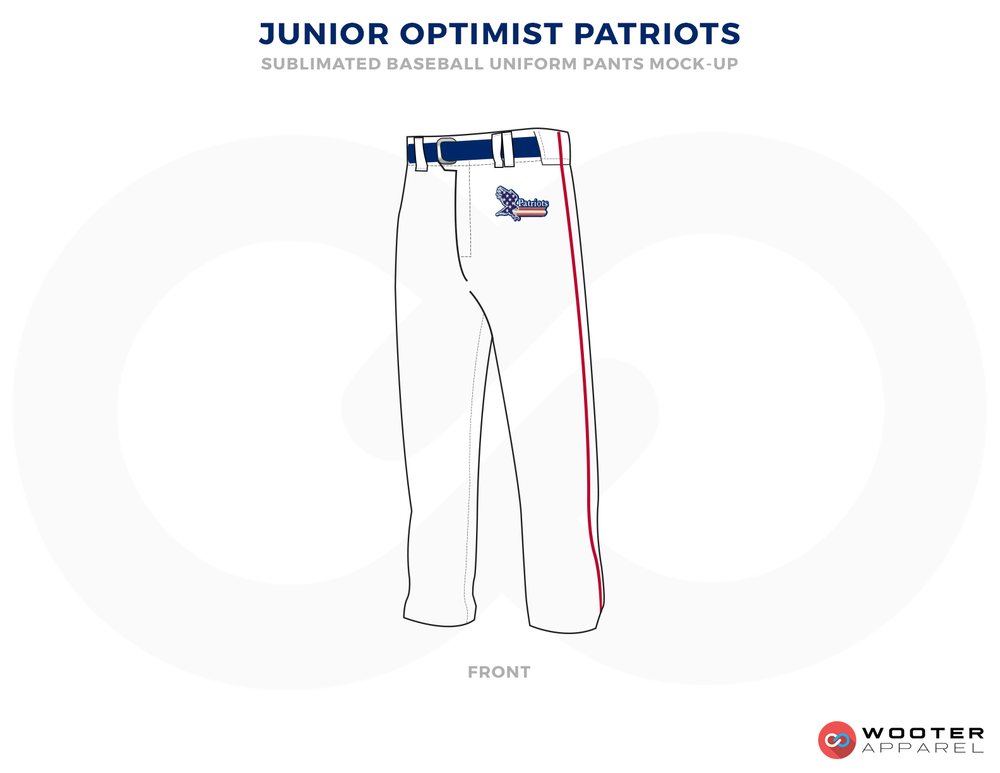 JUNIOR OPTIMIST PATRIOTS White Blue and Red Baseball Uniforms, Pants