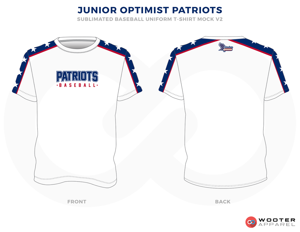 JUNIOR OPTIMIST PATRIOTS White Blue and Red Baseball Uniforms, Shirt