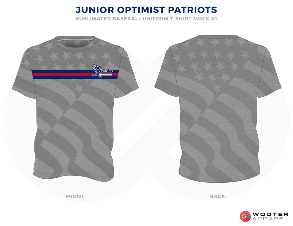 JUNIOR OPTIMIST PATRIOTS Gray Red and Blue Baseball Uniforms, Shirts