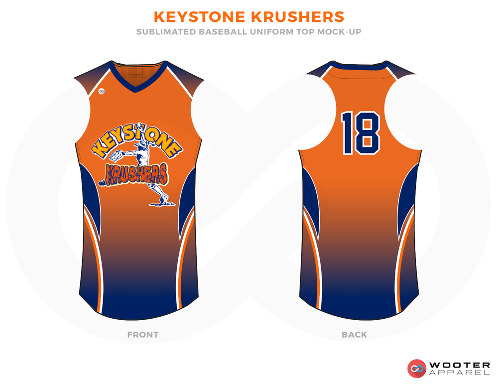 KEYSTONE KRUSHERS Orange Yellow and Blue Baseball Uniform, Shirt