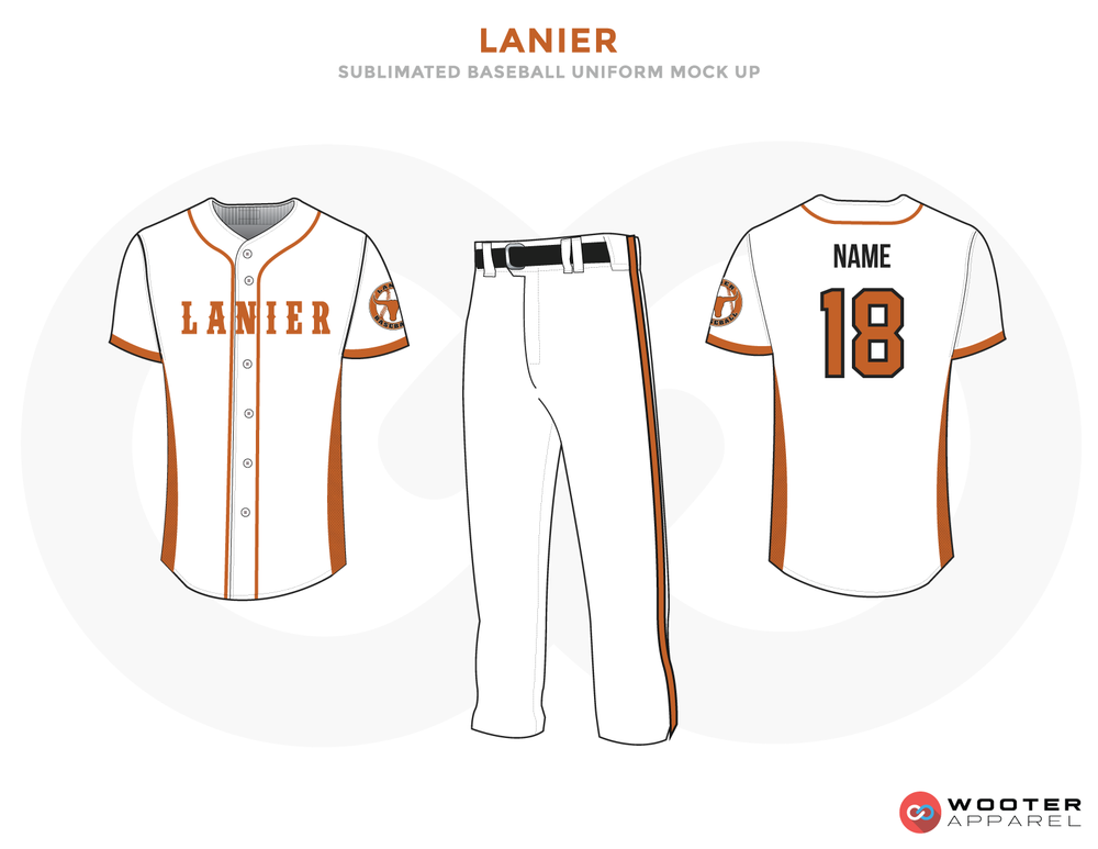 LANIER White Black and Brown Baseball Uniforms, Shirt and Pants
