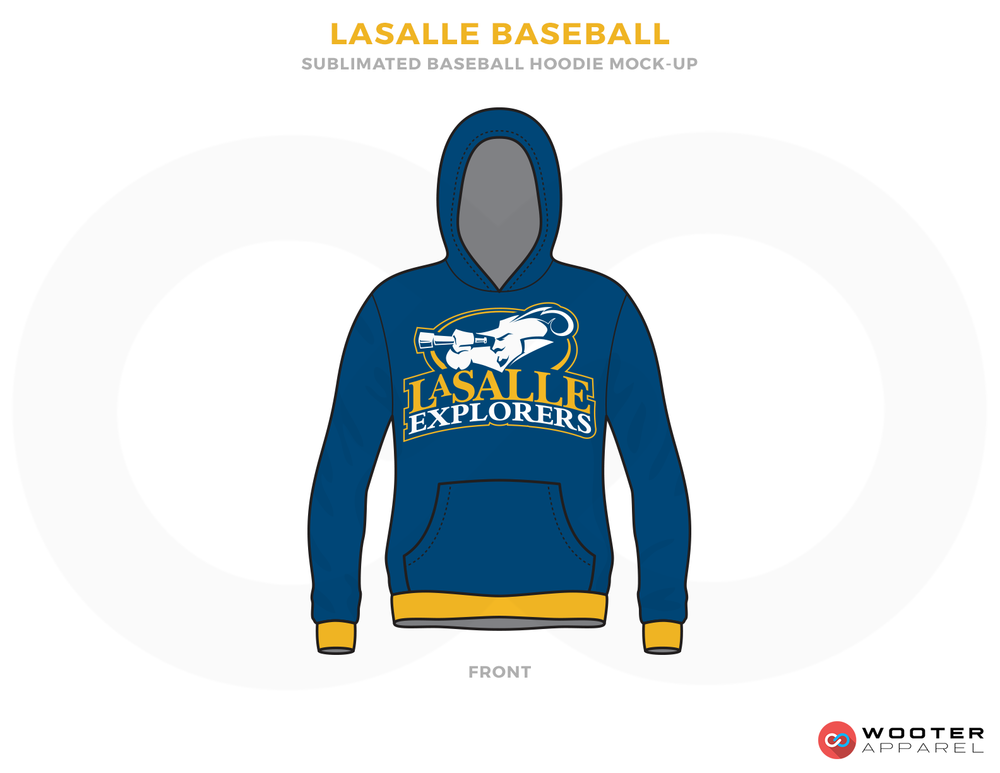 LASALLE BASEBALL Blue White and Yellow Baseball Uniforms, Hood Shirt
