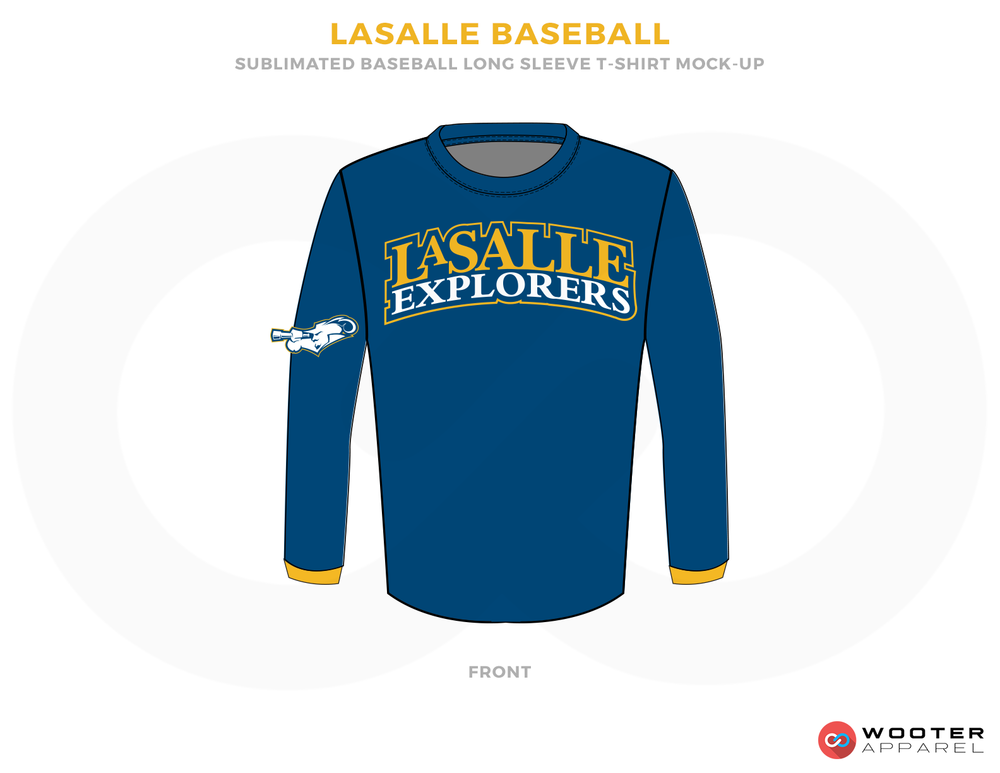 LASALLE BASEBALL Blue White and Yellow Baseball Uniforms, Shirt