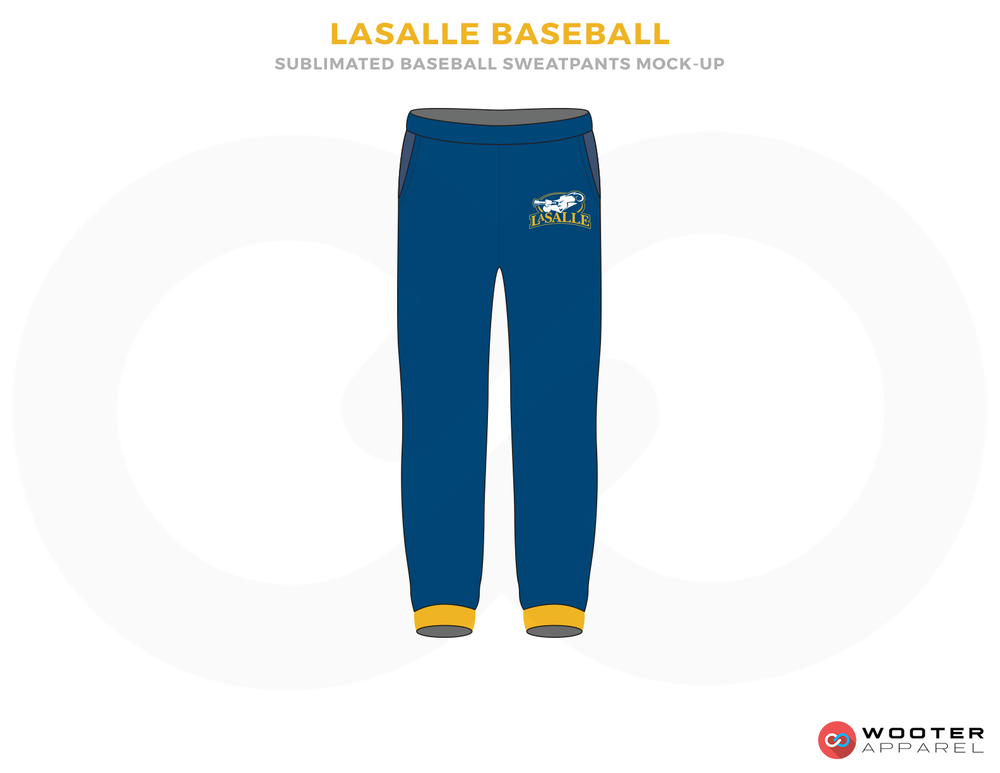 LASALLE BASEBALL Blue and Yellow Baseball Uniforms, Pants
