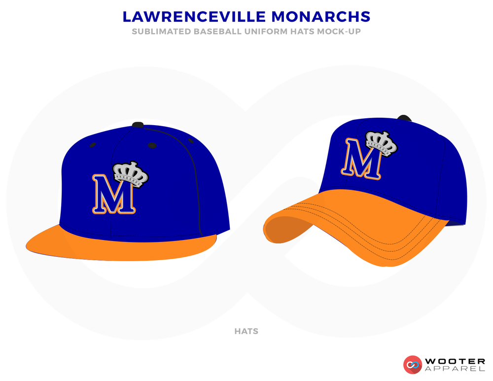 LAWRENCEVILLE MONARCHS Blue White and Orange Baseball Uniforms, Caps