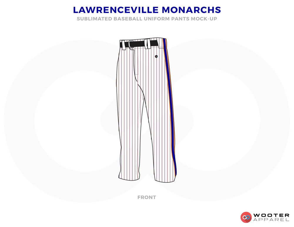 LAWRENCEVILLE MONARCHS White and Black Baseball Uniforms, Pants