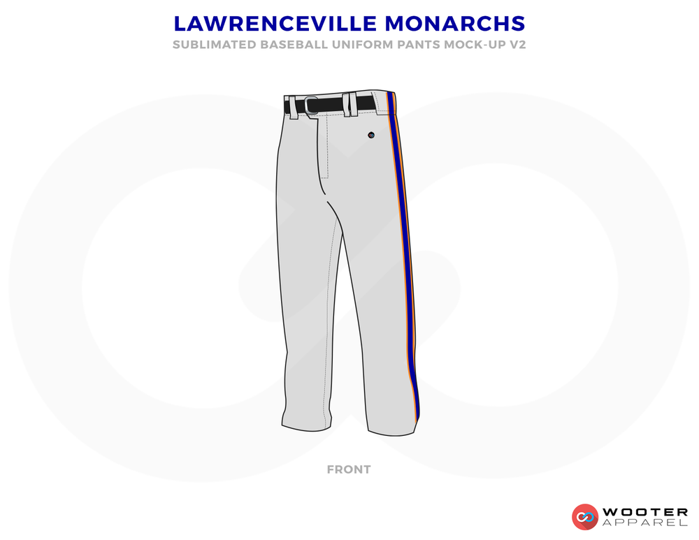 LAWRENCEVILLE MONARCHS Gray Black and Purple Baseball Uniforms, Pants